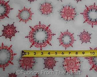 Winter's Graundeur Christmas Snowflakes in Red Silver BY YARDS RK Cotton Fabric