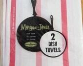 Two MIP Vintage Kitchen Towels  RED Stripe Set of 2