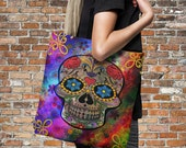"Sugar Skull Tote Bag Over Sized 18"" x 18""  Funky Abstract"
