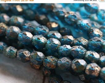 10% off CAPRI PEBBLES .. 25 Premium Picasso Czech Glass Beads 6mm (4326-st)