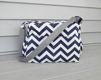 Navy Blue and Gray Diaper Bag Unisex Diaper Bag Baby Boy Diaper Bag Baby Shower Gift