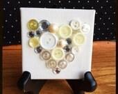 Mini Button Collage Heart Natural Colors Art Silhouette