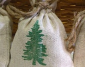 Linen Drawstring Sachets  -  Natural Balsam Fir Linen Sachet Gift Bags - Set Of Three Sachet Bags - Naturally Scented