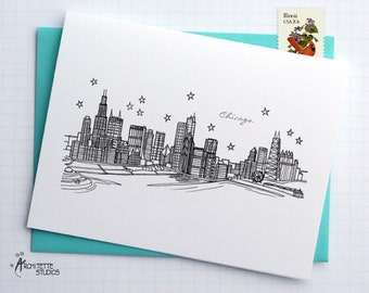 Chicago, Illinois - United States - City Skyline Series - Folded Cards (6)