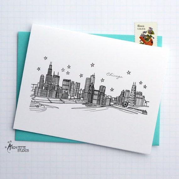 Chicago, Illinois - United States - City Skyline Series - Folded Cards (6)