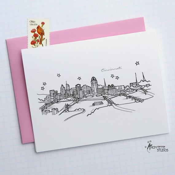Cincinnati, Ohio - United States - City Skyline Series - Folded Cards (6)