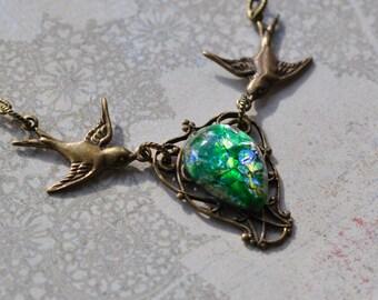 Green Opal Bird Necklace - Vintage glass opal