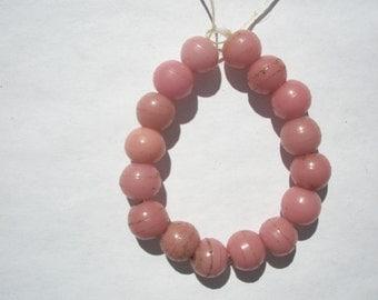 Antique Prosser Glass Trade beads - Pink - 9mm - 16