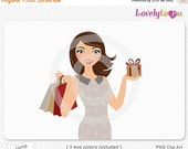 SALE Christmas shopping woman, holiday gift giving digital PNG clip art (Jane 625)