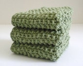 SALE / Knitted Dish Cloth / Sage Green Cloth / Knit Wash Rag / Sage Green Knit Dish Rag / under 10 gift