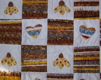 Flower, Heart and Selvages  Quilted Table Runner or Mini Quilt