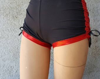 Black and Red Sparkle Spandex Lift and Separate Booty Scrunch Butt Shorts Roller Derby Yoga Dance Cracker Wear Small