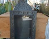 Mexican Tin Nichos Shadow Box Pineapple Top Glass Door Rerablo Vintage Folk Art