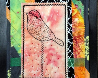 Orange Fiber Mixed Media Art Bird Collage | Hand Embroidery & Quilted