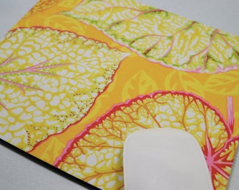 Buy 2 FREE SHIPPING Special!!   Mouse Pad, Fabric Mousepad   Big Leaf Yellow