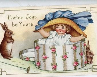 Easter Postcard, Easter vintage postcard, Adorable Girl with Easter hat box, bunny rabbits, antique Easter postcard, Easter bonnet
