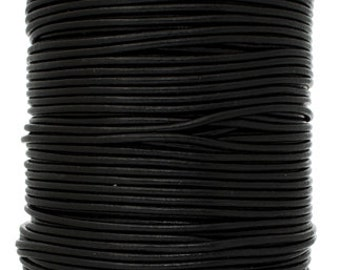 2 Meters (6.56 Feet Approx.) Genuine Leather Cord - Round - Black 2mm (2992000)