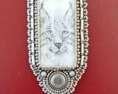 RESERVED FOR ANN pencil drawing lynx necklace