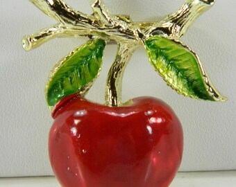 Red Enamel Cherry Pin Brooch Gerry's Vintage Figural Gold Tone with Green Leaves 16085