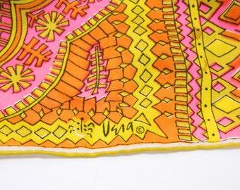 "Mod Vera Neuman Silk Scarf Signed Hot Pink Orange Yellow Long 15 x 44"" Japan 14767"