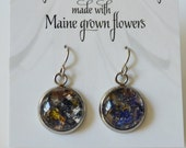 Flower Petal Earrings made with Maine Grown Flowers-Made in Maine Jewelry-Maine nature inspired jewelry