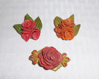 Lot of Vintage Home Made Ceramic Flower Brooches