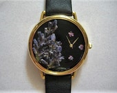 Womens Watch Jewelry Black Wrist Watch with  Lavender and Leather Band, Watch for Women, Pressed Flower Watch, Real Flowers in Watch, Watch