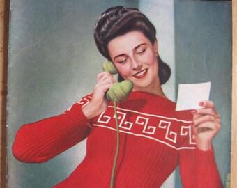 Stitchcraft December 1941 - Vintage 1940s Magazine - Wartime WW2 - Knitting Crochet