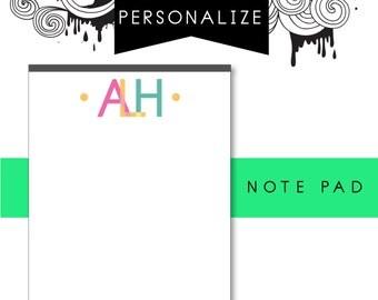 Customizable Initials Notepad
