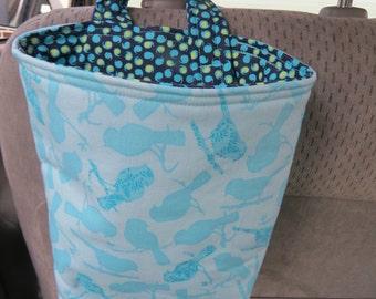 Trash Bin, Car Trash Bag, Cute Car Accessories, Headrest Bag, Trash Container, Light Aqua Bird Silhouettes