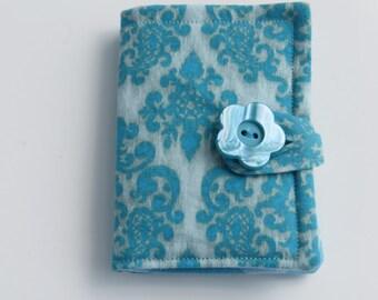 Tea Wallet , Tea Bag Holder, Cute Accessory, Purse Accessory, Aqua Damask