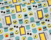 Disney licensed fabric Disney Cartoon Monsters Inc Characters Print Japanese fabric 50 cm by 106  cm or 19.6 by 42 inches  Printed in Japan