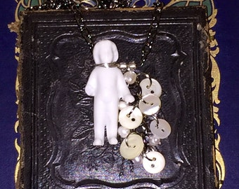 Antique Victorian Porcelain Frozen Charlotte Doll Necklace with Antique Shell Buttons and Freshwater Pearls
