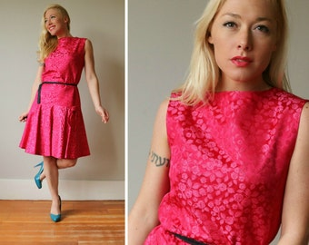 1960s Fuschia Bow Dress~Size Small to Medium