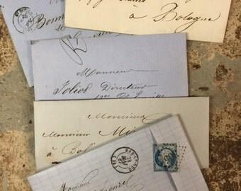 5 Antique French Love Letters Paris Calligraphy Script Lot F