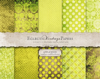 INSTANT DOWNLOAD - Eclectic Vintage Printable Papers - Applewood - Personal and Commercial Use