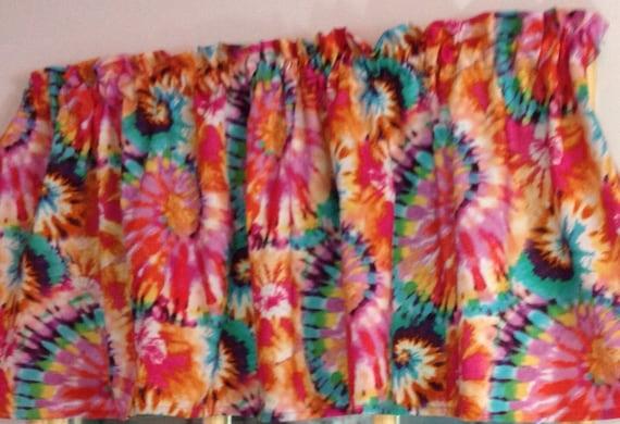 New Pink Orange Yellow Blue Tie Dye Window Curtain Valance
