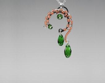 Green Swarovski Crystal Industrial Pendant with Copper Wire Wrapping, Industrial Pendant, Swarovski Necklace, Messier 101 v3