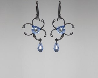 Blue Swarovski Crystal Biohazard Earrings, Statement Earrings, Light Sapphire Swarovski Crystal, Wire Wrapped Earrings, Biohazard Blue II v6