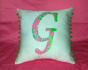 New Initial pillow Made with AUTHENTIC Lilly Pulitzer Monkey Trouble Fabric
