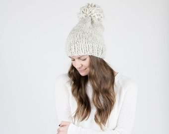 Knit Slouchy Hat With Pom Pom / THE PERMAFROST / Wheat