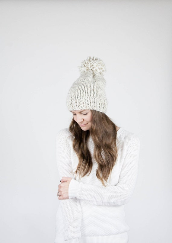 Ready To Ship! / Knit Slouchy Hat With Pom Pom / THE PERMAFROST / Wheat