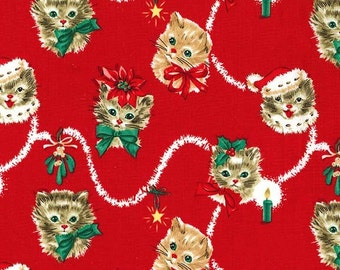Clearance FABRIC KITTY GARLAND Christmas 2016 by Michael Miller 1/2 Yard