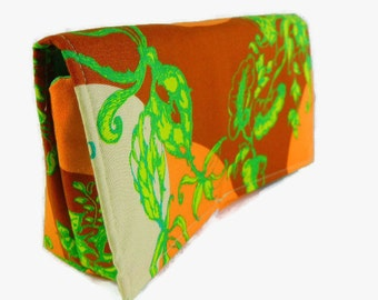 Ready to Ship Coupon or Purse Organizer Receipt Holder Orange  Lime Green Treetop