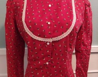 SALE 40% OFF Vintage 60's 70's Blouse. Calico Lace Button Down Shirt .Prairie Boho