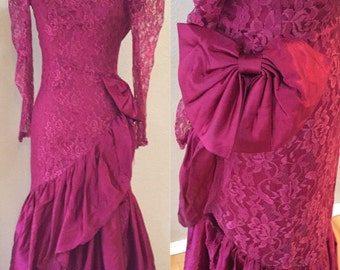 Burgundy Lace Cokctail Dress, Prom Dress, Formal Gown, 70's Vintage