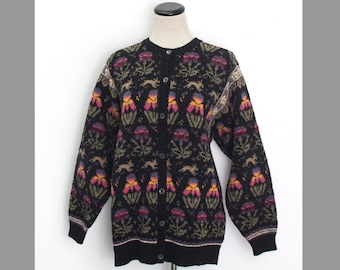 VTG 80's Bunnies and Tulips Cardigan (Medium) Long Sleeve Knit Sweater Button Up Rabbits Floral Rainbow