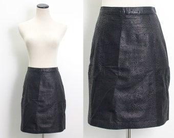 VTG 90's Embossed Leather Mini (Small / Medium) Black High Waist Pencil Skirt Floral Pattern Goth Rocker High Waisted Matte Black Mini Skirt