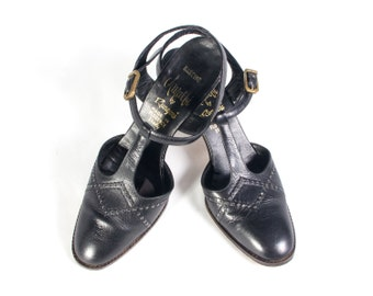 VTG 70's Black Leather T Strap Mary Janes size 6 1/2 Womens High Heels Pumps T Straps Perforated Geometric Detail Vintage Shoes
