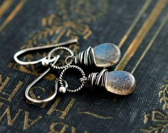 Labradorite Earrings, Drop Earrings, Dangle Earrings, Wire Wrapped, Sterling Silver, Midnight Blue, Gray, Weather, PoleStar, Gemstone